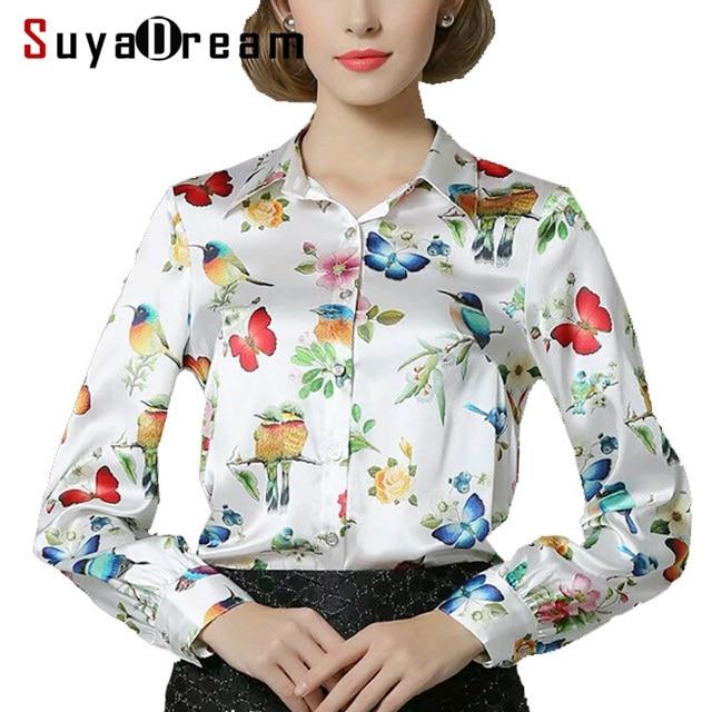 b121eb509b Amoreira pura SEDA blusa Mulheres manga comprida trabalho Marca de  Impressão cetim Blusas femininas senhora Do