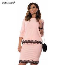 COCOEPPS New 6XL Women Lace Dress 2 Picee Set Large Big Size Office Female Work Dress Pink Black Casual Elegant Dress Vestidos