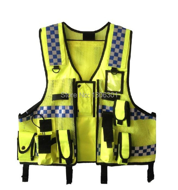 New Hongkong Style Multi-functional Police Reflective Warning Clothing Bright Silver Reflective Vest