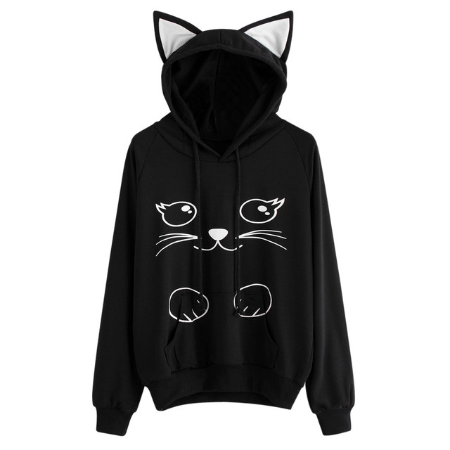Kawaii Cat Printed Black Hoodie Sweatshirt Women Autumn Ladies Long Sleeve Hip Hop Oversized Pullover Tops 3D Hoodies #YL5