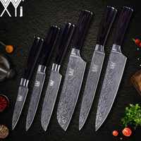 XYj Kitchen Cooking Knife Set Color Wood Handle 7cr17 Stainless Steel Damasucs Pattern Blade Knives Cooking Accessories Tools