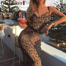 Vestido sexy de verano para fiesta en la playa para mujer con encaje estampado de leopardo