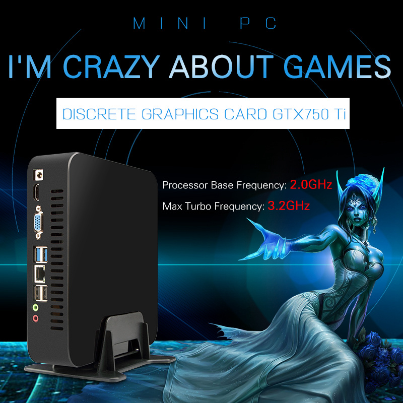 MSECORE Game Quad Core i7 4750HQ GTX750TI DDR5 4G Video RAM Mini PC Windows 10 Desktop