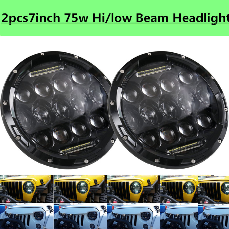 ФОТО 2PCS 7 Inch 75W High Beam 35w Low Beam LED Headlight With DRL for Je~p Fj Harlay