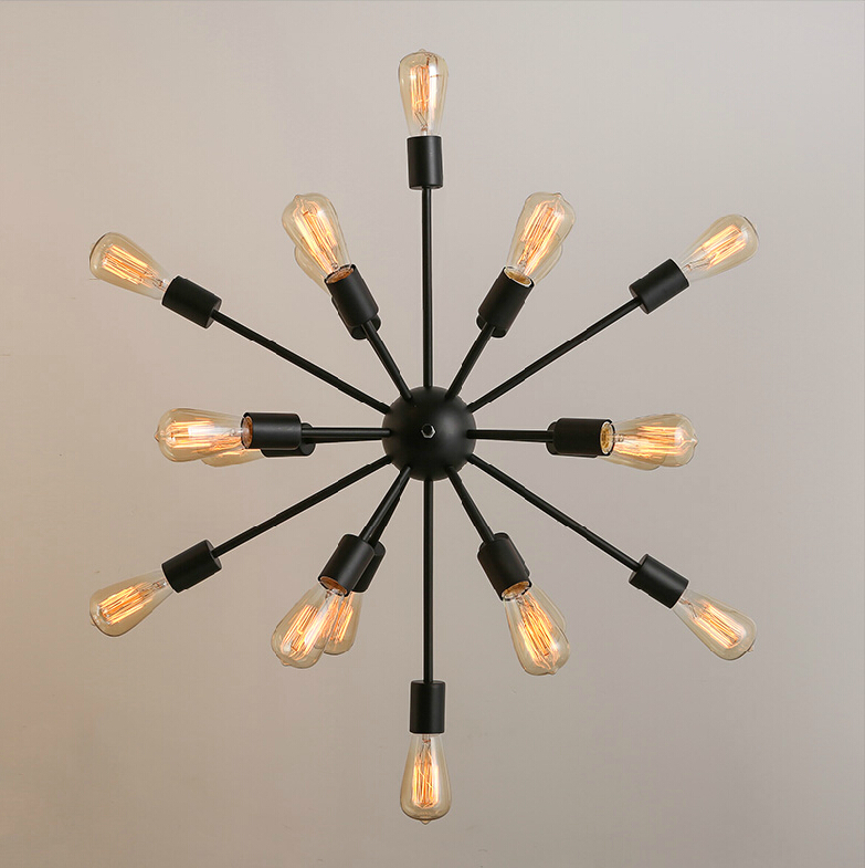 Free shipping vintage retro sputnik chandeliers 18 lights metal free shipping vintage retro sputnik chandeliers 18 lights metal black painting bulbs not incl e26 e27 loft foyer lamp lighting in chandeliers from lights mozeypictures Image collections