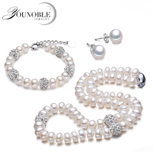Real beautiful trendy pearl necklace set women,beautiful anniversary natural freshwater bracelet earring jewelry sets
