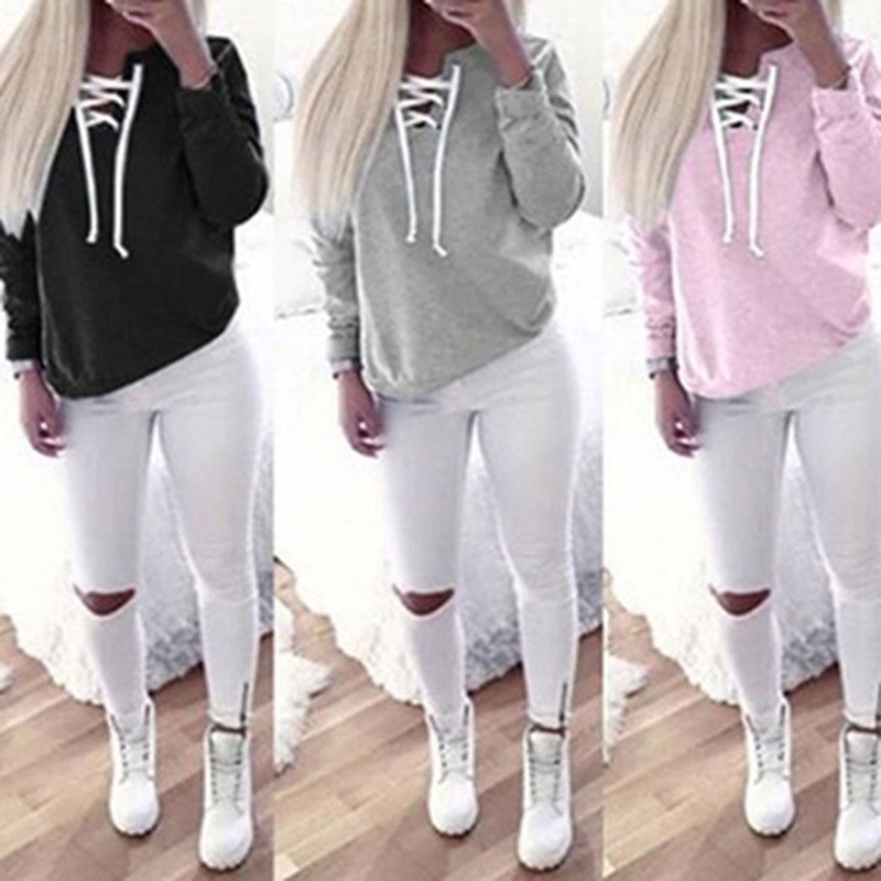 Women Fashion  Casual Sweatshirt  Solid Color Top Full Length Long Sleeve Hoodie