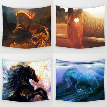 Comwarm 3D Cool Horse Series Pattern Digital Printed Wall Hanging Gobelin Mural Burning Horses Polyester Tapestry Home Decor Art