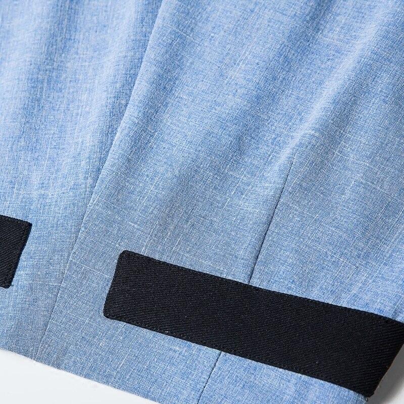 Loisirs D840 Pantalons Pantalon Bouffancy Plissée Femelle Nouvelle Taille Jambe Printemps Temps Grand Large Bleu Vêtements Haute Longue 2018 Pied kPZiOTXu