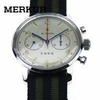 Мужские часы с хронографом Seagull, большой пилот, перемотка с ручным заводом, 304 1963 42 мм, выставочный чехол, платье сзади