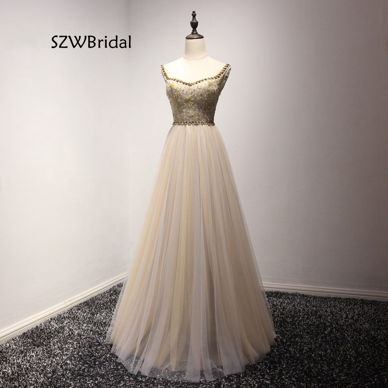 Real Photo Formal Cap Sleeves Gown See Through Back Beading Handwork Prom   Evening     Dresses   2019 Vestido de festa