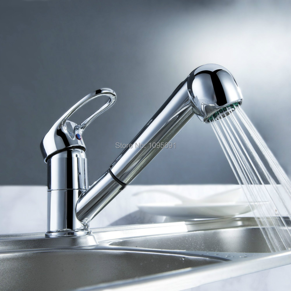 Contemporary Kitchen Sink Faucet Single Handle Single Hole Pull Out with Multifunctional Spray Chrome