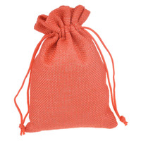 9.5x13.5cm Red Printed Jute Drawstring Pouch Gift jewelry package bags Stylish Natural Burlap with Nylon Drawstring  Reusable