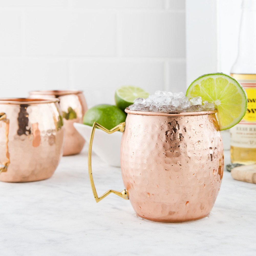 550ml hot hammered copper plated stainless steel moscow mule mug drumtype beer mug milk - Copper Mule Mugs