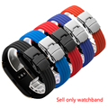 PEIYI Stripe silicone watch band 18mm rubber strap deployment buckle replacement wristband for Huawei B3 B5