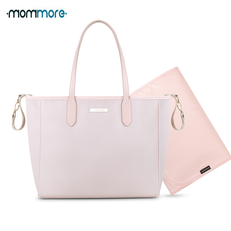 mommore Nylon Diaper Bags Large Totes Shoulder Bag with Changing Pad for Baby Care Mother Nappy