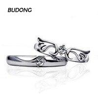 BUDONG טבעת זוג אופנה לגברים ונשים מתכווננת גודל טבעת כסף סטרלינג 925 תכשיטי יוקרת טבעת אירוסין לנשים