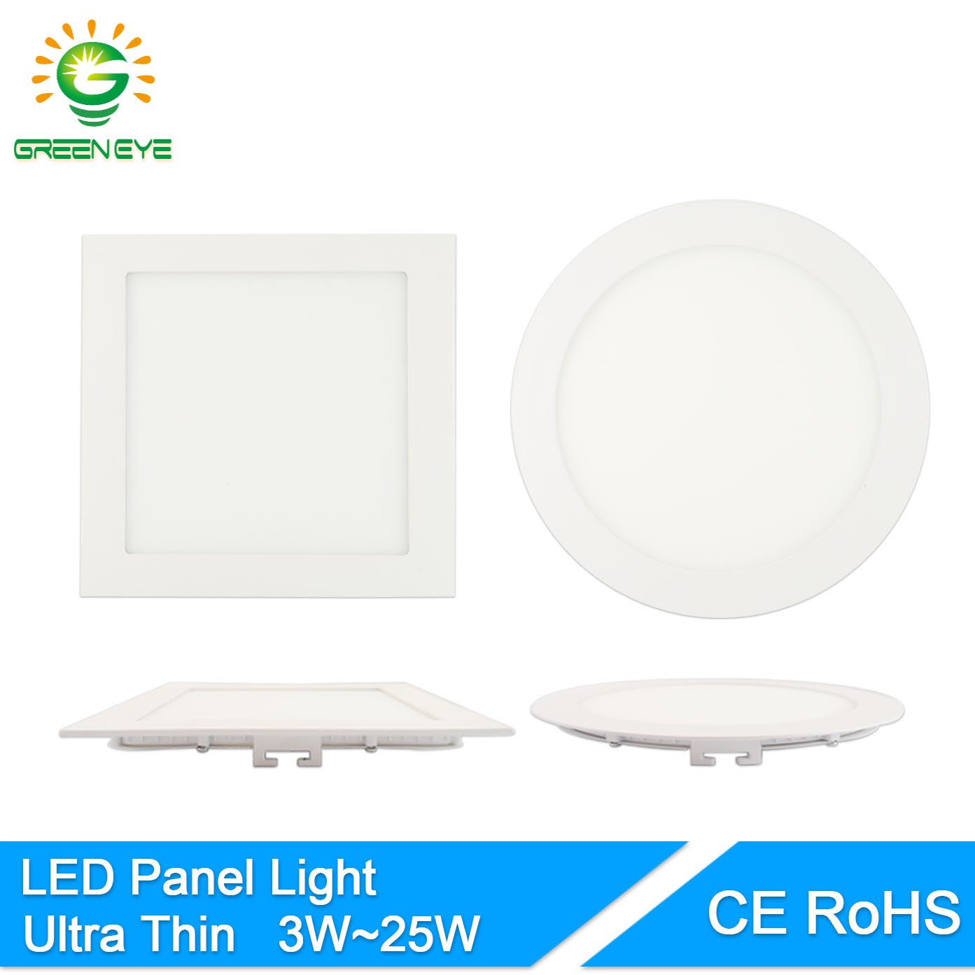 GreenEye Ultra-Thin AC 85-265v 3w-25w LED Panel Light Round/Square LED Ceiling Recessed Downlight 4w 6w 9w 12w 15w 18w Lamp 220v square led panel light smd 2835 3w 6w 9w 12w 15w 18w 20w ac 85 265v led ceiling recessed lamp led downlight driver for indoor