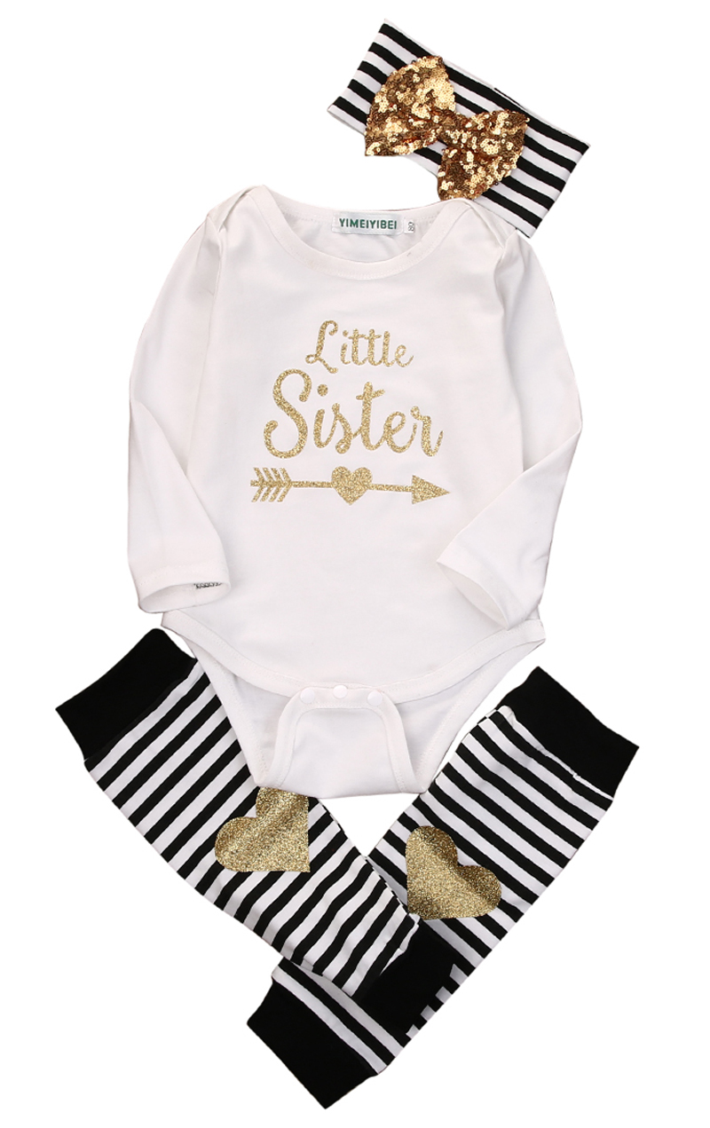 3pcs New Fashion Newborn Baby Girl Clothes Romper Tops + Headband+Leg Warmer 3PCS Outfits Set 0-24M