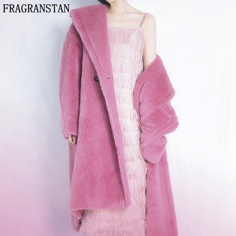 Winter Women Faux Fur Teddy Coat Solid Color Plus Size Warm Long Fur Coats Female Lapel