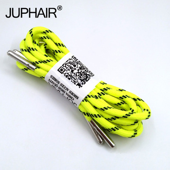 1-12Pair Fluorescent Yellow Black Outdoor Sport Round Shoelaces Shoe Lace Boot Athletic Unisex Rope Metal Head Shoelace