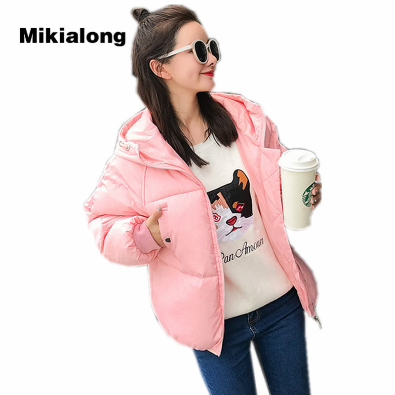 Mikialong Oversized Women Parka 2017 New Fashion Padded Bread Coat Women Thick Warm Hooded Winter Jacket White Pink Outwear mikialong hooded fur collar women parka 2017 thick warm long padded winter jacket women solid oversized cotton quilted coat