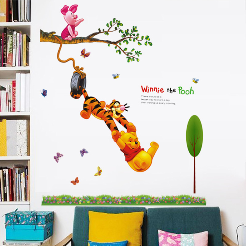 Cartoon Winnie The Pooh Butterfly PVC Wall Stickers For Kids Rooms Boys  Girl Children Home Decor Wall Decals Home Decoration  In Wall Stickers From  Home ...