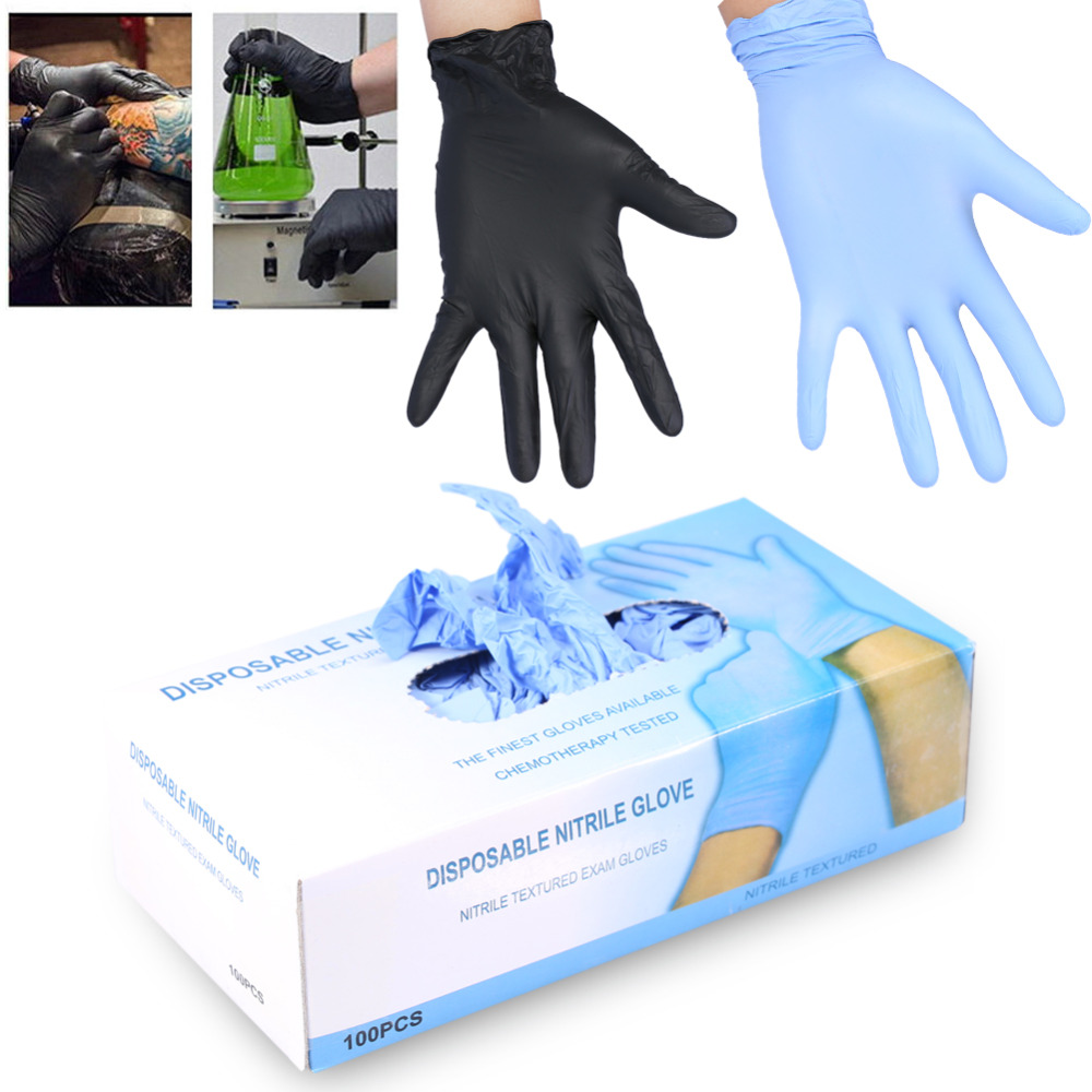 Black nitrile gloves xs - 100pcs Box 3 Sizes Nitrile Disposable Gloves Powder Free Mechanic Textured Exam Tattoo Nail Art Protective Accessory Black Blue
