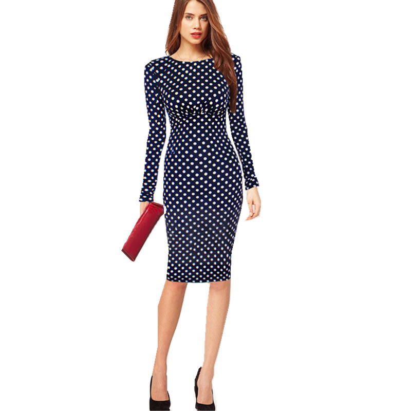 S 4xl plus size long sleeve midi dresses elegant dotted for Plus size midi dresses for weddings
