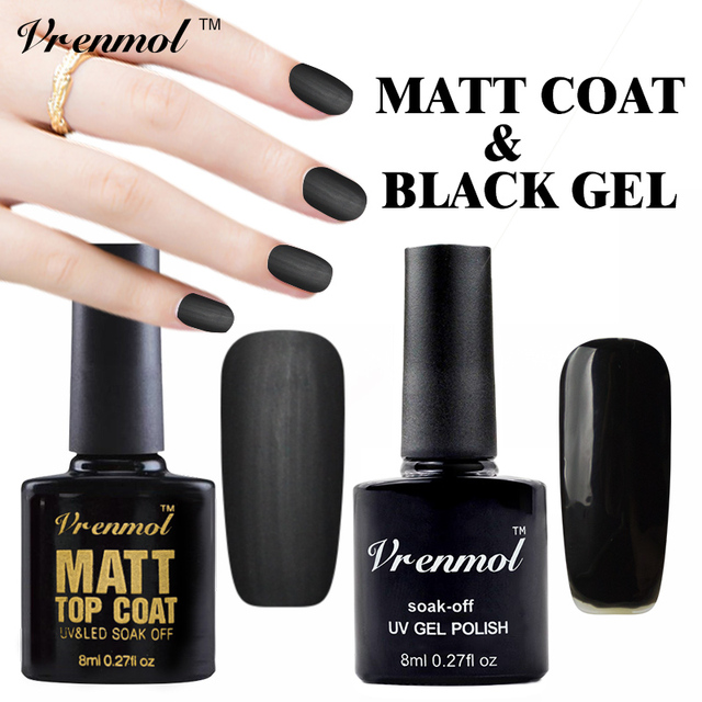 Vrenmol 2pcs Clear Matt Matte Top Coat Black Color Gel Polish UV Gel ...
