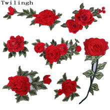 1 Pcs Nouvelle Marque 3D Patches Grand Rouge Rose Fleur Brodé Patch DIY Fer À Coudre Sur Coudre Sur Tissu De Réparation Vêtements Pour Les Patchs De Mariage
