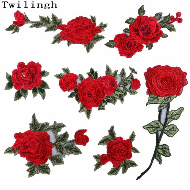 ee53106660cbb8 1 Pcs New Brand 3D Patches Big Red Rose Flower Embroidered Patch DIY Iron  On Sew