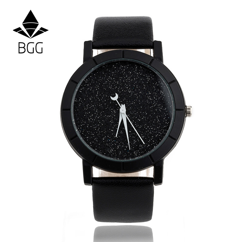 Ladies Casual Watch fashion Rhinestone Women Dress Watch Lovers' Leather Quartz Wristwatch Cute Moon Stars Design clock hours fashion watch men power reserve silver stainless steel automatic mechanical sapphire waterproof white watch relogio masculino