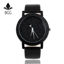 Ladies Casual Watch fashion Rhinestone Women Dress Watch Lovers' Leather Quartz Wristwatch Cute Moon Stars Design clock hours