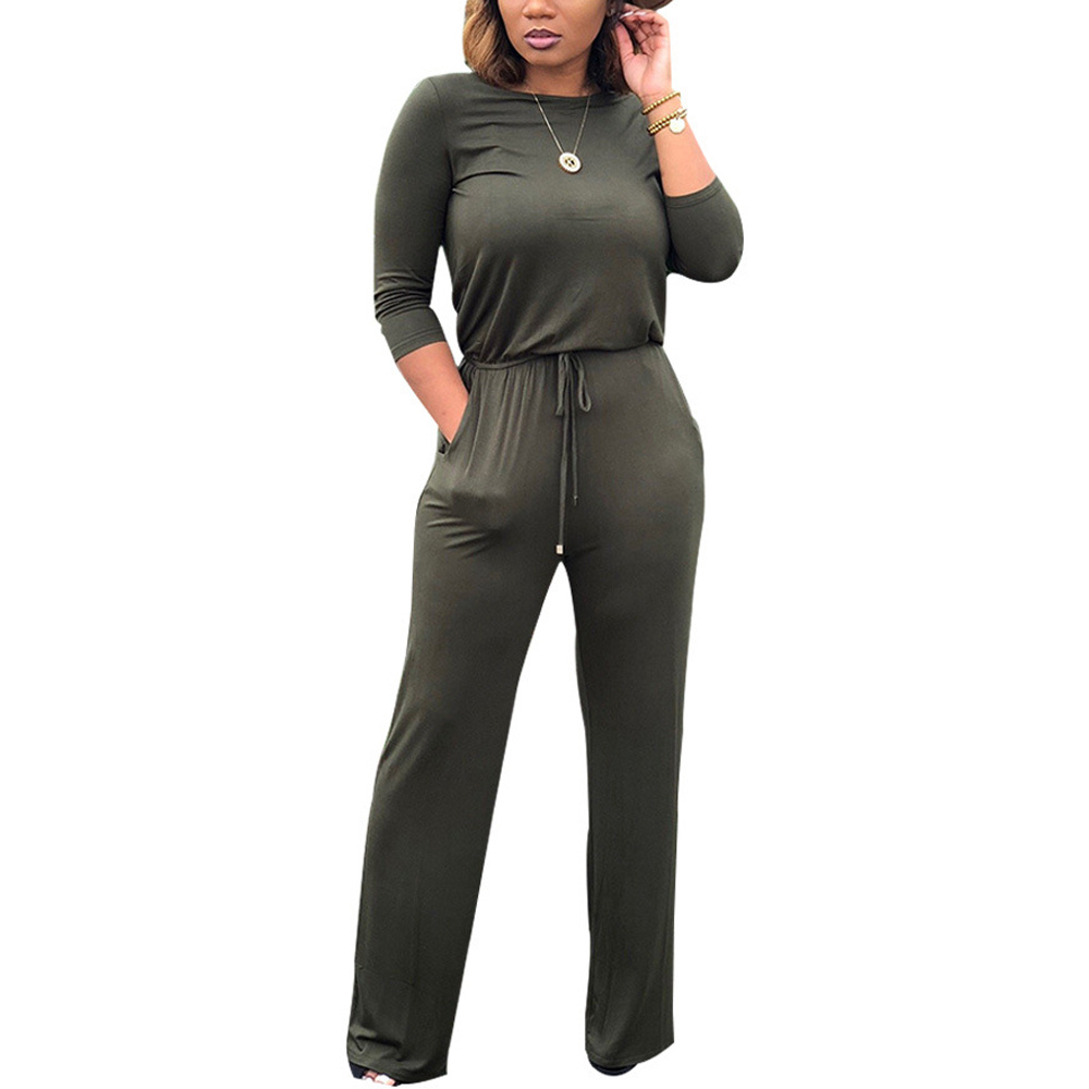 Women Casual Jumpsuits Overalls Long Sleeve Wide Leg Long Pants Jumpsuit Rompers Solid Lace Up Jumpsuits Street Wear