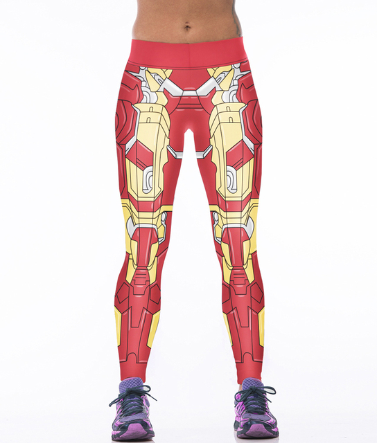 NEW Euro Style sexy women Iron Man cartoon 3D digital printing high waist workout fitness Women leggings Pants YH2005