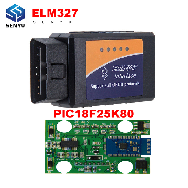 US $10 0 |ELM327 V1 5 Bluetooth OBD2 Diagnostic Tool ELM 327 1 5  PIC18F25K80 Chip OBD2 Scanner Works for Android Clearing Fault Code-in Code  Readers &