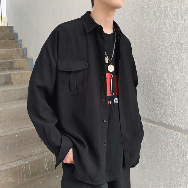 2019 Spring Summer Korean Pocket Designed Thin Oversize Men's  Black White Casual Shirt Blouse
