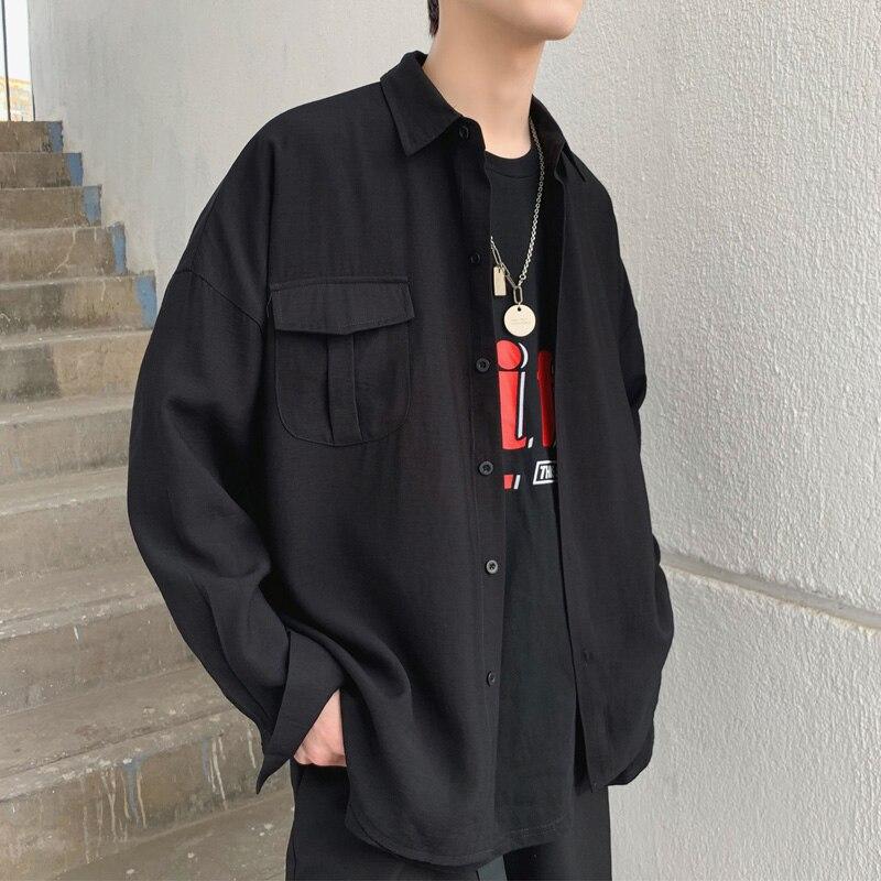 2019 Весна Лето корейский карманный дизайн тонкий оверсайз Мужская черная белая Повседневная рубашка блузка-in Повседневные рубашки from Мужская одежда on AliExpress