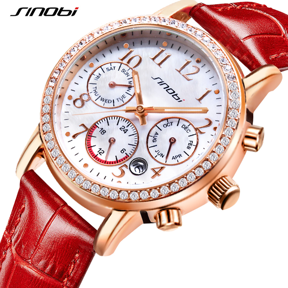 SINOBI New Luxury Shell Dial Women Watches 2018 Week calendar Multi-function Display Ladies Watch Shell Dial Quartz Watch Women amica luxury crystal diamond blue shell dial womens quartz watch ladies watch