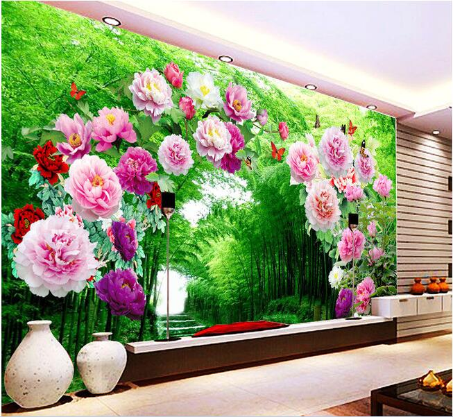 3d wallpaper custom mural non woven 3d room wallpaper - Flower wallpaper mural ...