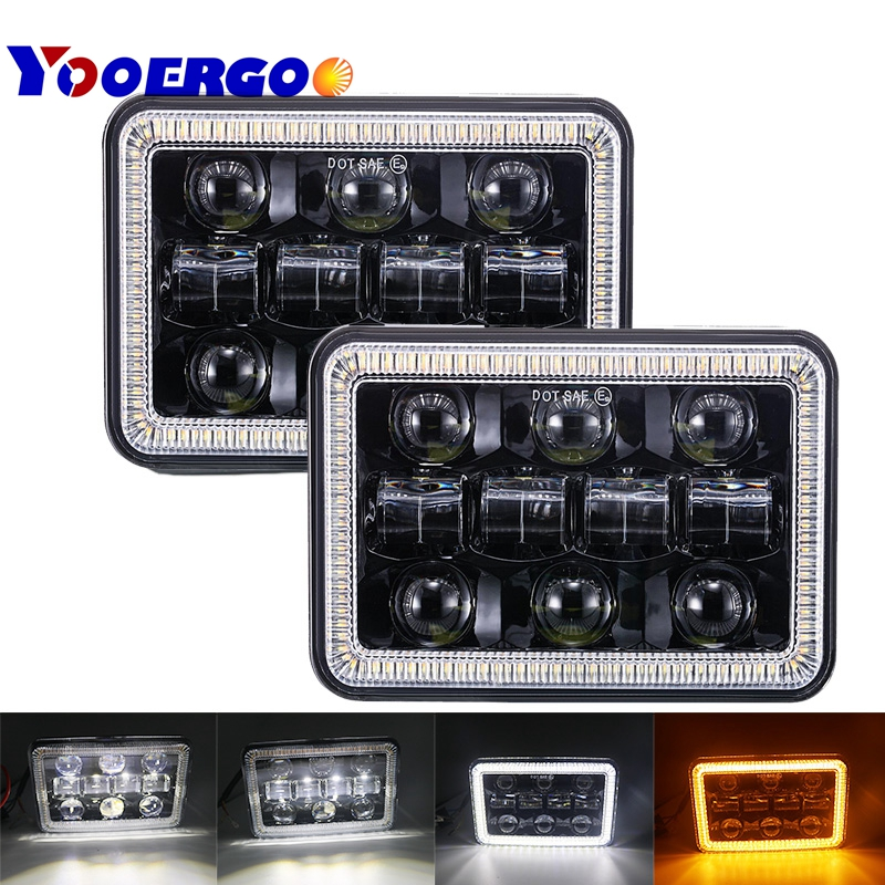 2pcs 4X6 Car Led Headlight Square Light White Halo DRL Amber Turn Signal Sealed high/low Beam Replacement For Ford Trucks Offro