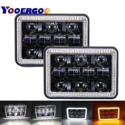 2 sztuk 4X6 samochodów Led reflektor lampa kwadratowa białe Halo DRL pomarańczowy kierunkowskaz Sealed hi/l Beam wymiana dla Ford Trucks Offro