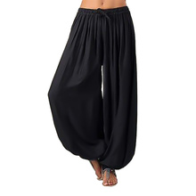 New Pants Women Autumn Solid Color Loose Large Size Elastic Band Wide Leg Streetwear Harem Pantalones Anchos Mujer