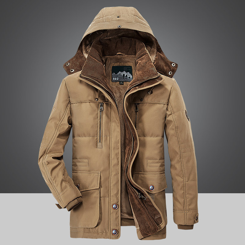 2018 new men's thick warm winter down coat long fur collar army green men parka Fleece cotton coat jacket parka men-in Jackets from Men's Clothing    1