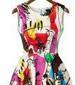 Graffiti moda imprimir flare vestido multicolor vestido sem mangas das mulheres vestidos de verão das mulheres