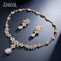 ZAKOL Clássico Banhado A Ouro Ramo FSSP133 Cubic Zircon Conjuntos de Jóias Para As Mulheres Do Partido Da Flor Do Casamento