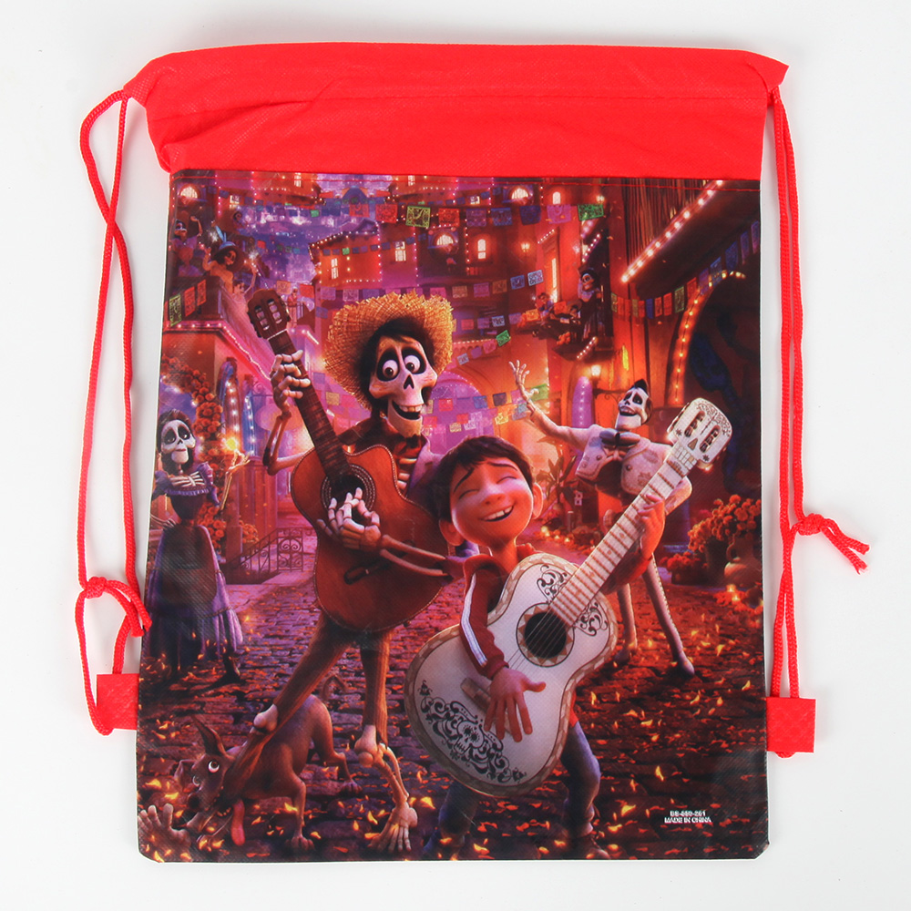 1pc Disney COCO Cartoon Theme Non-woven Bag Fabric Backpack Kids Travel School Bag Decoration Drawstring Gift Bag