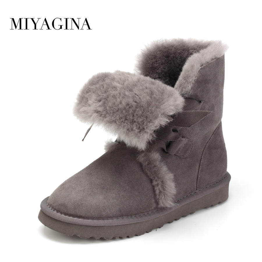 MIYAGINA New Fashion Women Snow Boots Genuine Sheepskin Leather Snow Boots Natural Fur Winter Boots Warm Wool Women Boots