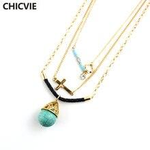 Chicvie женские каменные бусы многослойное ожерелье с подвеской